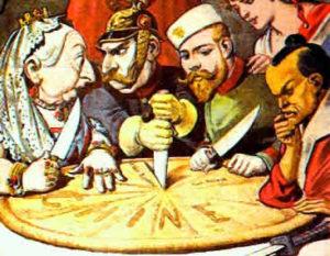 Charge mostrando o imperador alemão brigando com a rainha da Grã-Bretanha pelos territórios por ela conquistados.