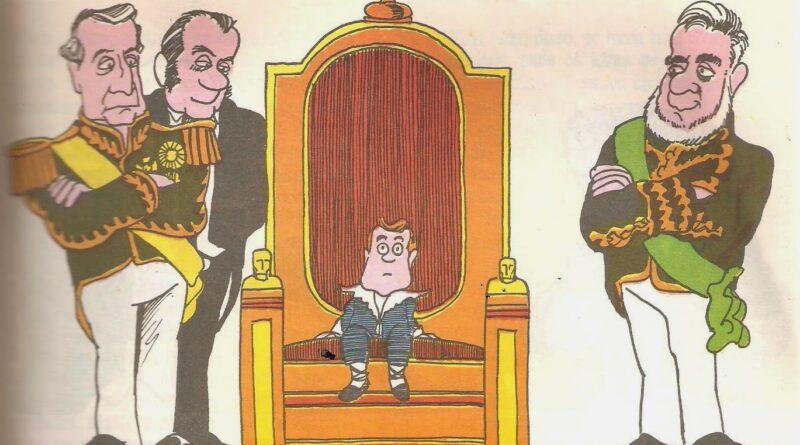 Imagem demonstrando Pedro II criança sentado no trono.